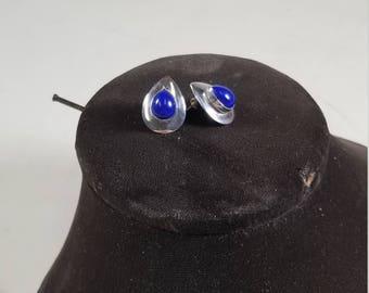 Vintage 925 Sterling Silver and Blue Lapis Lazuli Earrings Raindrop Teardrop Pear Shape