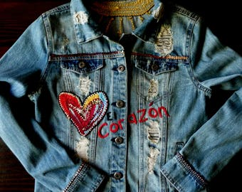 RESERVED, Hand Embroidered Recycled Denim Jacket, Distressed Denim Jacket,  Art to Wear, MexiSoul Design, El Corazon, El Sol, Free US Ship