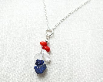 4th July Gift Summer Party Summer Outdoors Independence day American flag patriotic necklace USA red white blue necklace Lapis Lazuli