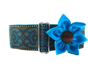 Turquoise Martingale Collar and Matching Flower, 2 Inch Martingale Collar, Jacquard Dog Collar, Azure Blue, Greyhound Collar, Made in Canada