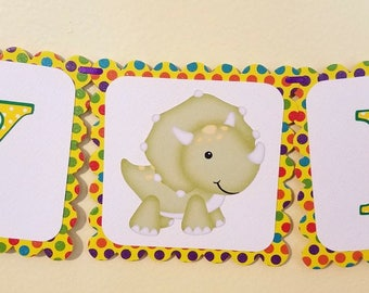Dinosaur Birthday Banner, Dinosaur Themed Party, Children's Birthday Banner, Dinosaur Happy Birthday Banner