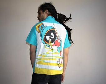 Graphi Marvin the Martian Looney Tunes 1990s  Hawaiian Short Sleeve Hip Hop Rap Rapper Fresh Prince 90s Men's Button Up Dress Shirt - MV0384