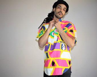 OP 90s Neon Ocean Pacific Surf Surfer 1990s  Hawaiian Short Sleeve Hip Hop Rap Rapper Fresh Prince 90s Men's Button Up Dress Shirt - MV0385