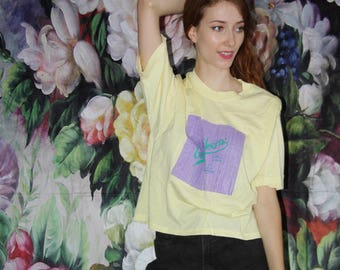 VTG 90s Yellow Guess Lavender Pastel Neon striped Paper Thin T Shirt - 90s Guess Georges Marciano - 90s Clothing - WV0557