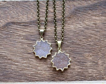 Gold Brass Sun Druzy Necklace/ Natural Crystal Quartz Druzy Stone/ Must Have Gift Stylish Fashion Layering Piece (EP-BND18)