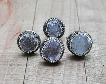 Natural Druzy Swarovski Crystal Silver Ring/ Adjustable Silver Double Ring/ Swarovski Crystals Grey  Druzy (RSD14)