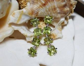 Sterling Silver Peridot Climber Earrings 1.93 grams 2.50ctw