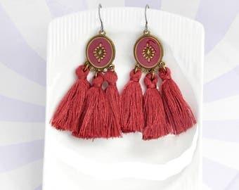 Burgundy red tassel earrings - surgical steel earrings, enamel, bronze purple burgundy earrings, stainless steel earwires nickel free