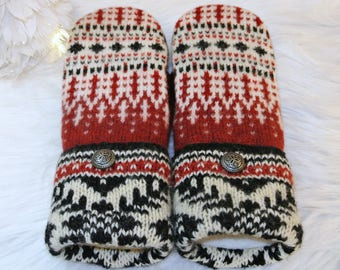 Red, White & Black Norwegian Women's Wool Sweater Mittens