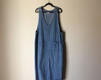 Denim Maxi | L/XL scoop neck // side hip pockets norm core 90s vintage minimalist preppy long cotton womens dress extra large indie JUMPER