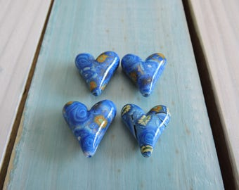 4 Piece Heart Shaped Bead Lot # 6