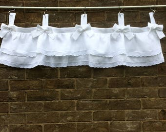 White Linen Tab Top, Eyelet Lace Bow Valance Window Curtain,  Shabby Chic Decor