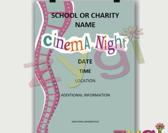 Printable Charity or PTA poster-cinema night fund raiser- Editable and Printable- you print and edit- INSTANT DOWNLOAD