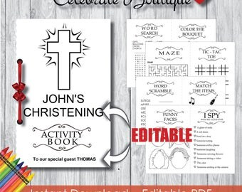 Instant Download First Christening Coloring Book for Kids Editable Activity Book Coloring Book Children Activity Book Party Favors for Kids