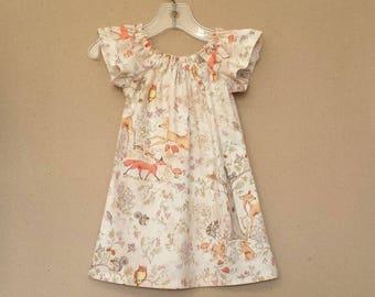New! Little Girls Woodland Animals Dress - Anthropologie Inspired - Flutter Sleeve Dress - Fox Deer & Raccoon Dress - Sizes 12m through 6