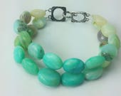 Bracelet Ombre  Shades of Blue Green Peruvian Opal Oval Nuggets Two Strands Silver Bronze Clasp