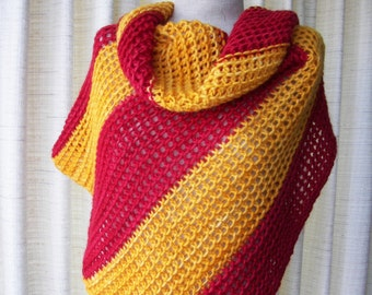 RED GOLD: Hand Knit Color Block Stripes Shawl Triangle Scarf in Mohair Wool / Art Knit Shawl