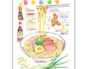 Ramen print, Watercolor illustrated recipe, Japanese food poster, Kitchen art, Noodle print, Pasta illustration, Asian food print, Japan art