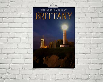 France Art 18x24 Poster Fine Art Print Lighthouse Art Print Night Sky Art French Decor France Poster