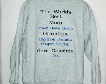 Mom, Grandma, Great Grandma Sweatshirt, Custom Grandparent Gift, Personalize With Three Names, No Shipping Fee, Ships TODAY, AGFT 1244