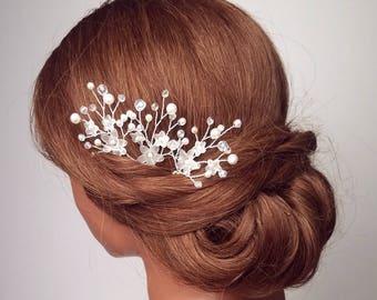 Flower Hair Comb, Bridal Hair Pins, Floral Hair piece, Wedding Headpiece, Beaded Hair Pins, Flower Vine, Bridal Hairpiece, Hair Accessories