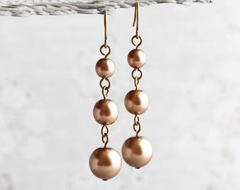 Rustic Bronze Crystal Pearl Dangle Earrings on Antiqued Brass Hooks