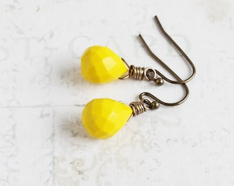Small Mustard Yellow Teardrop Earrings on Antiqued Brass Hooks