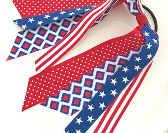 Patriotic Ikat Ponytail Streamer