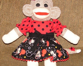 Sock Monkey, Red Heel Sock Monkey, Sock Monkey with Mickey Dress, New Baby Gift, Baby Shower Gift, Nursery Decor