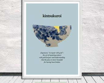 Kintsugi, Kintsukuroi, Kintsugi pottery poster, Illustration, Healing quotes, Wall Art, Word Art, Printable Art, Instant Digital Download