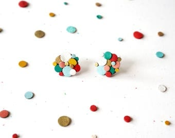 Rainbow Confetti Leather Statement Studs Abstract Upcycled Reclaimed Colourful Amoeba Sustainable Eco Friendly Gift Gifts under 30 Japanese