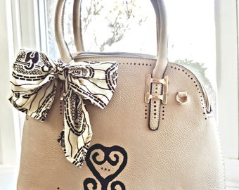 Painted Satchel Tan Handbag Purse with Bow African print Sankofa Adinkra bag