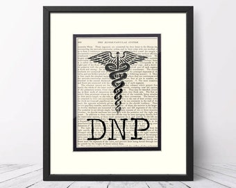 DNP Gift - DNP, Doctor of Nursing Practice, over Vintage Medical Book Page - DNP Graduation Gift, Doctor of Nursing Practice Gift