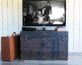 Large Metal Sided Steamer Trunk with Distressed Patina and Lots of Storage Capacity