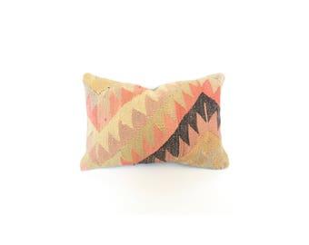 Vintage Kilim Lumbar Pillow / 14x20
