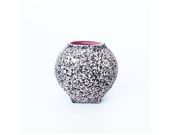 Mid Century Pink and Gray Splatter Vase / Kenwood