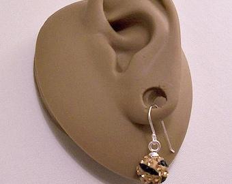 Sterling Silver 925 Gold Black Crystal Rhinestone Encrusted Beads Wire Pierced Stud Earrings Vintage Faceted Round Dangles