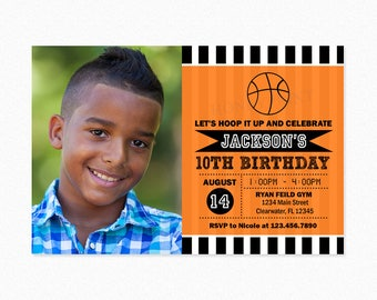 Basketball Birthday Party Invitation, Basketball Photo Invitation, Orange, Black and White Stripes, Personalized, Printable and Printed