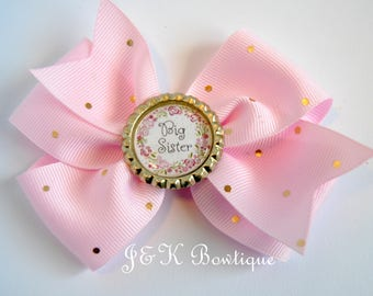Big sister hair bow, little Sister hair bow, Flower sister hair bow, pink and gold sister bow, big sister bow, big sister, sister hair bow