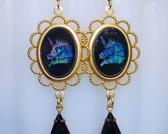 Gold Unicorns // Vintage 1930s Unicorn Cameo Earrings with 1950s Swarovski Jet Crystal, Opal Mosaic Fantasy Magic Bohemian Cosplay Fairytale