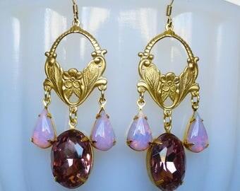 Lilac Fancy // Vintage Amethyst & Pink Fire Opal Gold Chandelier Earrings, 1950s Gems Opal Light Amethyst Art Nouveau Bohemian Floral Deco