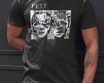 Felt   T shirt screen print short sleeve  black shirt cotton