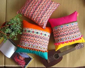 3 Mexican Aztec Pillows Set - Boho Home Decor Ethnic Colourful Cushion Cover