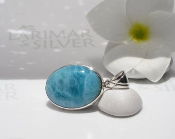 Larimarandsilver pendant, The Ocean inside Me - sea blue Larimar oval, sea storm, turtleback, aquamarine pendant, Dominican Larimar jewelry