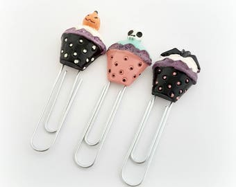Creepy cute cupake planner clip set, spooky bookmark, Halloween planner accessory
