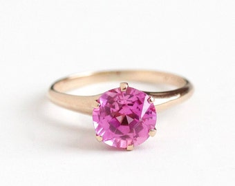 Sale - Vintage 10k Rosy Yellow Gold Created Pink Sapphire Ring - Edwardian Size 6 3/4 Pink Solitaire Gem Alternative Engagement Fine Jewelry