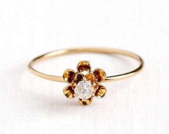 Sale - Antique 10k Rosy Yellow Gold 1/10 Carat Diamond Ring -  Vintage Edwardian Gem Size 7 1/2 Stick Pin Conversion Buttercup Fine Jewelry