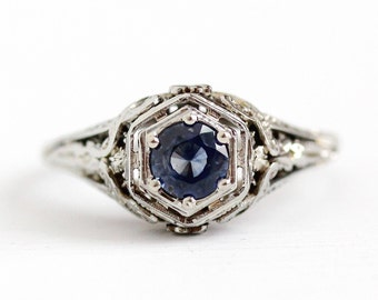 Genuine Sapphire Ring - Vintage 1930s 18k White Gold .55 CT Art Deco Size 6 - Filigree Solitaire Engagement Blue Gemstone Flower Jewelry