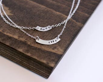 Hand Stamped Sterling Silver Curved Bar with Initials and Heart Necklace, Stamped Bar Necklace, Initial Necklace, Monogram Necklace, Heart