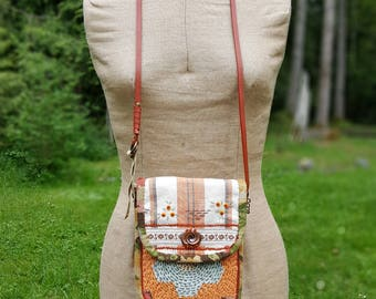 Handmade Purse made from Vintage Quilt, Embroidered Linen Hand Towel, Floral Linen, Vintage Trims, Copper Brooch, Adjustable Strap, Beads